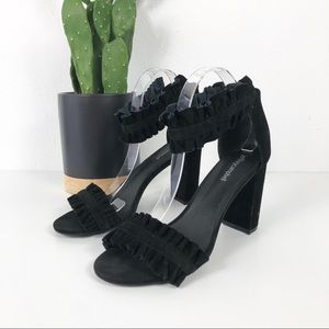 Jeffrey Campbell Lindsay Ruffle Ankle Strap Heels